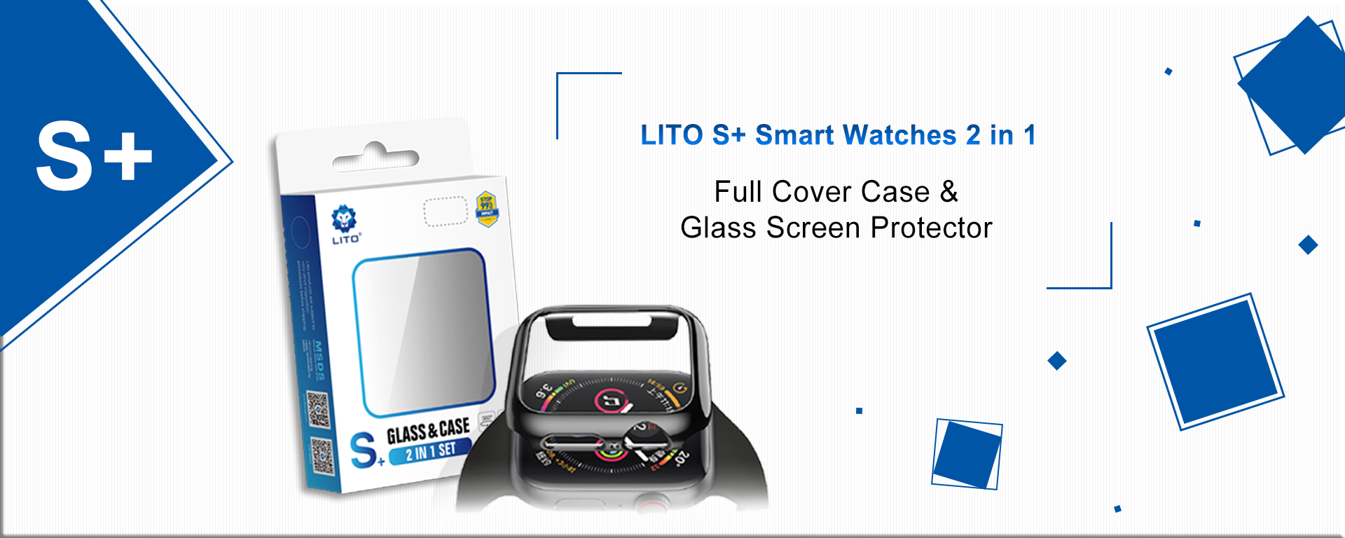 LITO S+ Full Coverage Touch Sensitive Perfect Protection Watch Case& Watch Screen Protector
